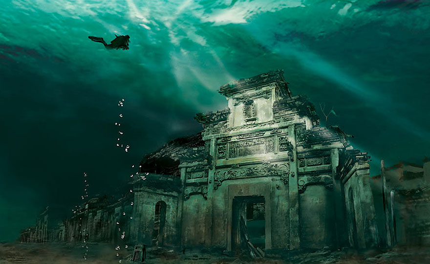 Oraș-sub-apă-Shicheng-China.