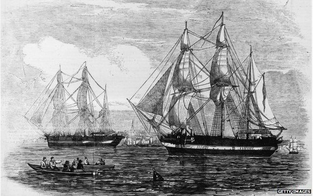 HMS Erebus și HMS Terror, așa cum au apărut în Illustrated London News.